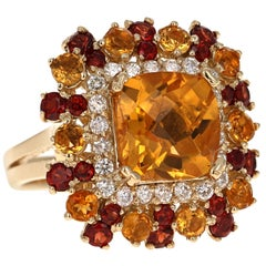 7.10 Carat Cushion Cut Citrine, Garnet, and Diamond 14 Karat Yellow Gold Ring