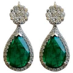 7.10 Carat Natural Emerald Diamond Dangle Flower Earrings 18 Carat White Gold