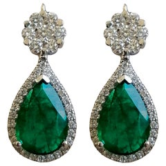 7.10 Carat Natural Emerald Diamond Dangle Flower Earrings 18 Carat White Gold