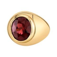 7.10 Carat Rhodolite Garnet Oval Yellow Gold Bezel Set Signet Dome Ring