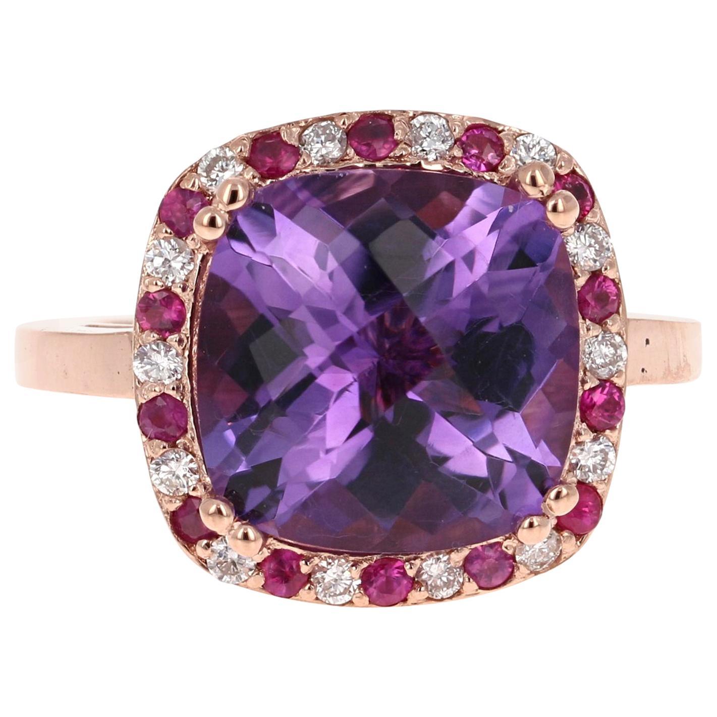 7.11 Carat Amethyst Pink Sapphire Diamond 14 Karat Rose Gold Cocktail Ring