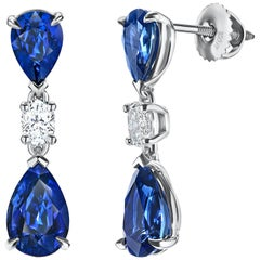 7.11 Carat Blue Sapphire Pear Shape and Diamond Earrings