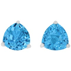 7.11 Carat Blue Topaz Trillion Stud Earrings