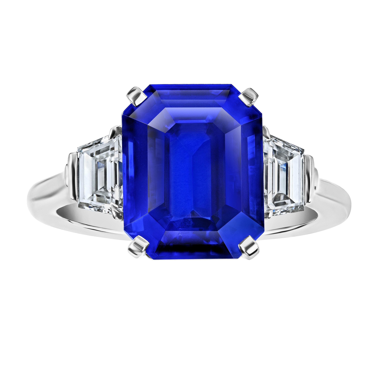 7.11 Carat Emerald Cut Blue Sapphire and Diamond Ring