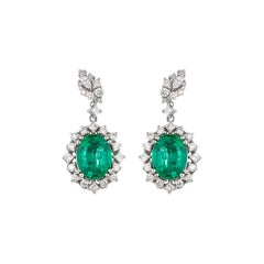 7.11 Carat Emerald Earring in 18 Karat White Gold with Diamonds