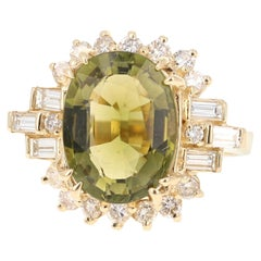 7.11 Carat Olive Green Tourmaline Diamond 14 Karat Yellow Gold Cocktail Ring