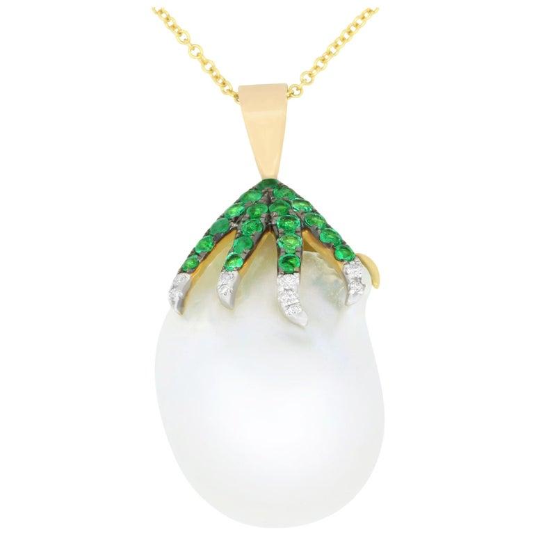 7.11 Carat Pearl, Emerald and Diamond Pendant For Sale
