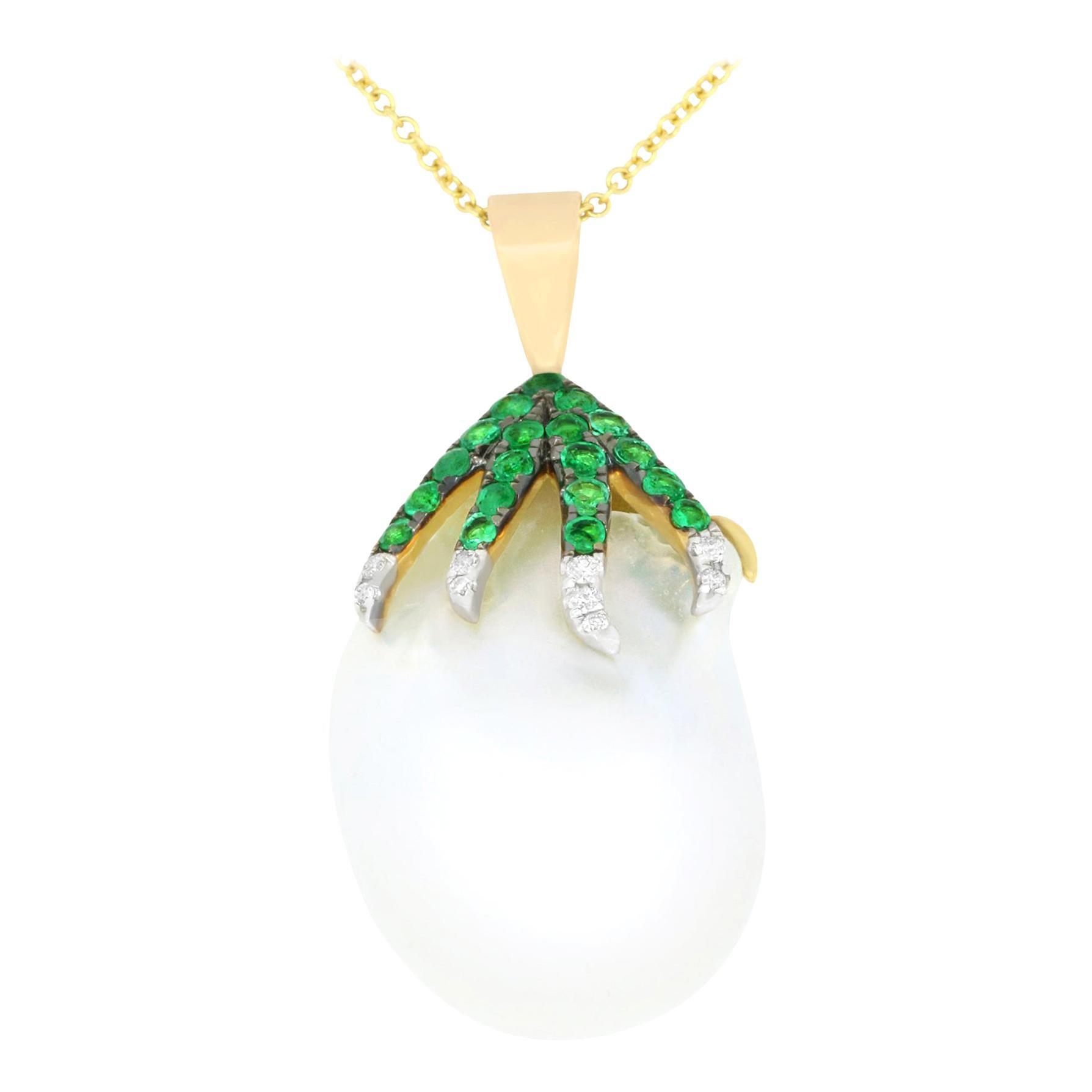 White Pearl Natural Emerald White Diamond Pendant Necklace Chain 14K White Gold