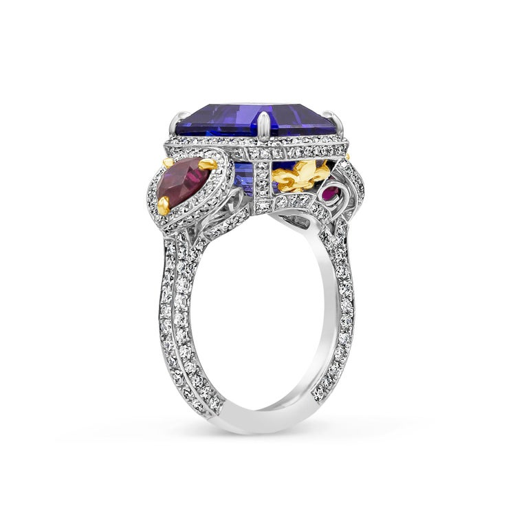 Contemporary 7.11 Carat Tanzanite, Ruby and Diamond Three-Stone Cocktail Ring For Sale
