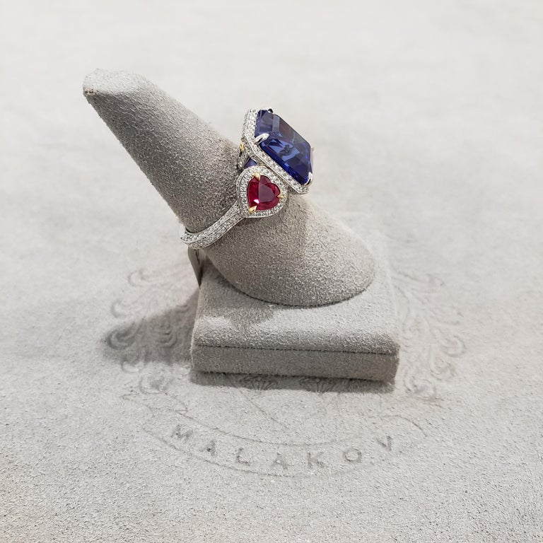 Women's 7.11 Carat Tanzanite, Ruby and Diamond Three-Stone Cocktail Ring For Sale