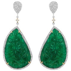 71.16 Carat Carved Emerald Drop Diamond Earrrings