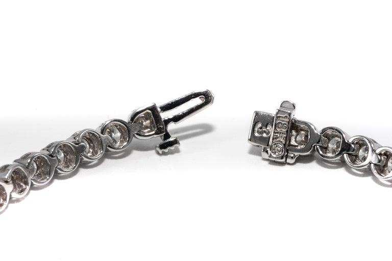 Round Cut 7.12 Carat Diamond Line Tennis Bracelet, in 18 Karat White Gold For Sale
