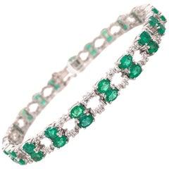 7.12 Carat Emerald Diamond Bracelet