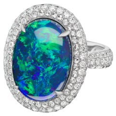 7.12 Carat Opal Diamond Cocktail Ring