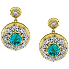 7.13 Carat Blue Zircon and Diamond 18k Gold Earrings