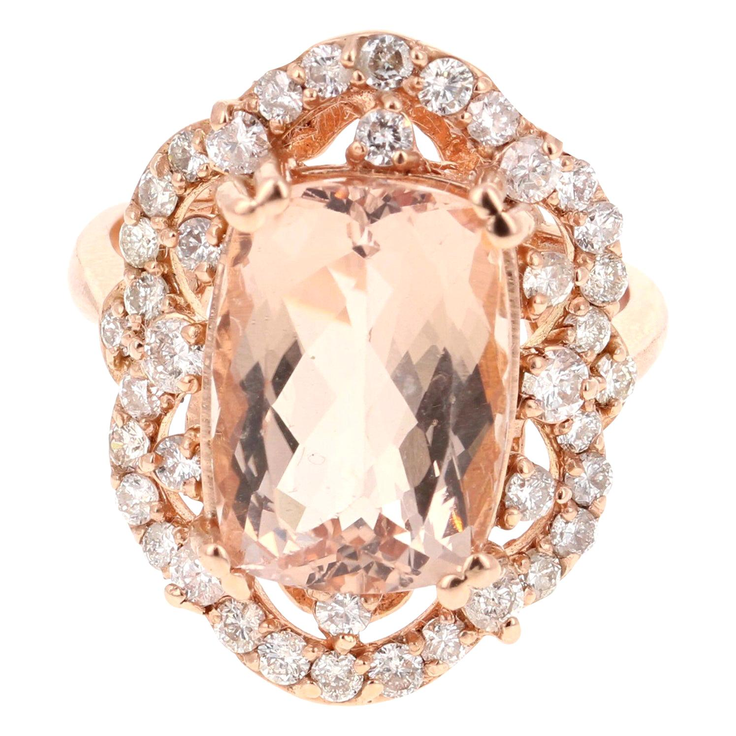 7.13 Carat Morganite Diamond 14 Karat Rose Gold Cocktail Ring
