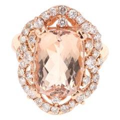7.13 Carat Morganite Diamond 14 Karat Rose Gold Cocktail Ring