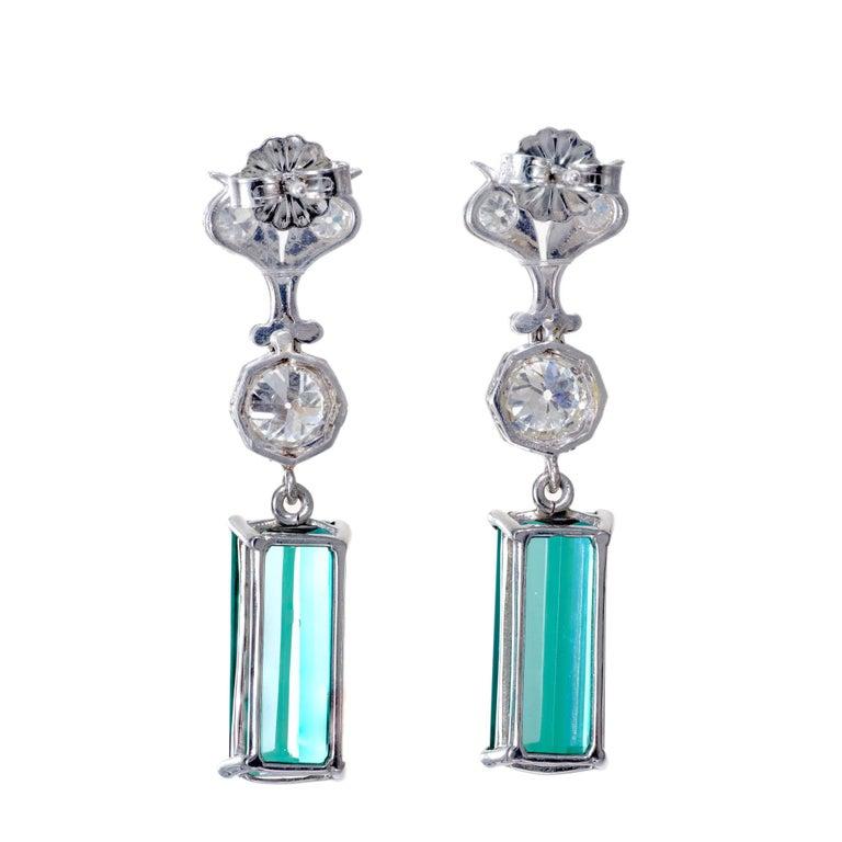 Old European Cut 7.13 Carat Tourmaline Diamond Platinum Art Deco Dangle Earrings For Sale