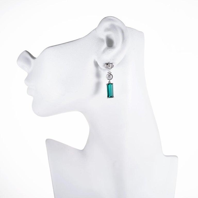 Women's 7.13 Carat Tourmaline Diamond Platinum Art Deco Dangle Earrings For Sale