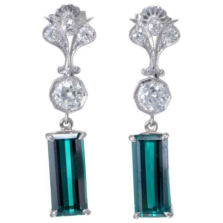 7.13 Carat Tourmaline Diamond Platinum Art Deco Dangle Earrings For Sale