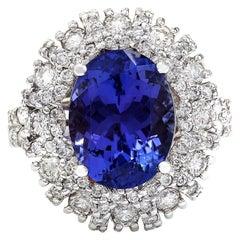 7.14 Carat Tanzanite 18 Karat Solid White Gold Diamond Ring