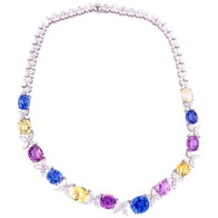 71.49 Carat GIA Certified Unheated Sapphire and White Diamond Gold Necklace