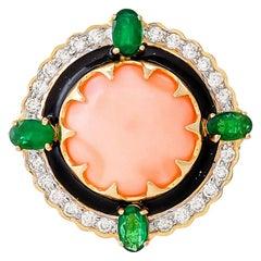 7.15 Carat Coral Emerald Diamond and Black Enamel Ring