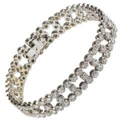 7.15 Carat Diamond Three-Row 18 Karat White Gold Tennis Bracelet