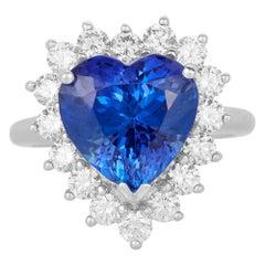 7.15 Carat Heart Shape Tanzanite 1.29 ct White Diamond Halo Ring 18K White Gold