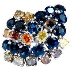 7.15 Carat Natural Color Diamonds Sapphire Cocktail Twist Ring 14 Karat Fine Gem