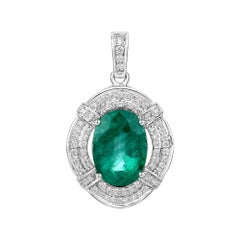 7.15 Carat Zambian Emerald and White Diamond 18 Karat White Gold Pendant