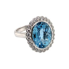 7.16 Carat Oval Shaped Aquamarine Ring in 18 Karat White Gold with Diamonds