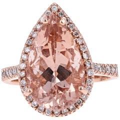 7.16 Carat Pear Cut Morganite Diamond Rose Gold Engagement Ring
