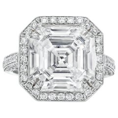 7.17 Carat Asscher Cut Diamond Ring in Platinum, GIA