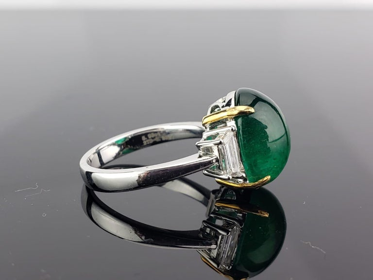 Art Deco 7.17 Carat Emerald Cabochon and Diamond Three-Stone Ring For Sale