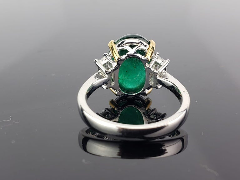 Oval Cut 7.17 Carat Emerald Cabochon and Diamond Three-Stone Ring For Sale