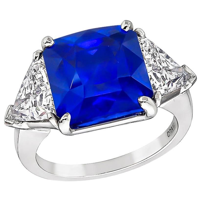 7.17 Carat Sapphire 2.07 GIA Certified Diamond Engagement Ring