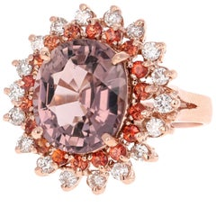 7.17 Carat Oval Cut Tourmaline Sapphire Diamond Rose Gold Cocktail Ring