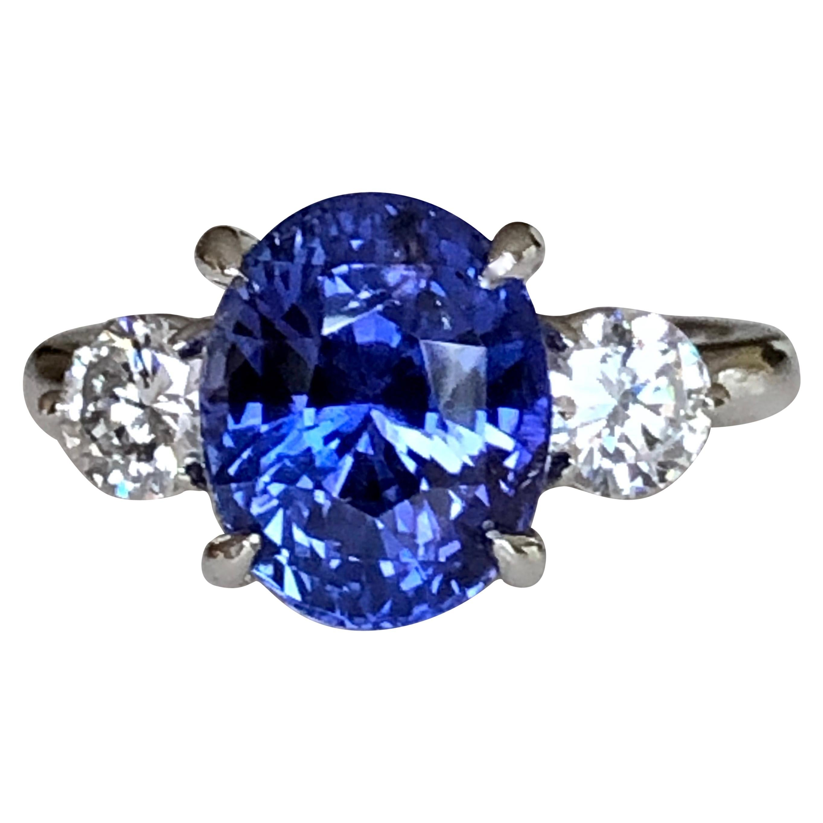 7.18 Carat GIA No Heat Color-Changing Sapphire Diamond Engagement Ring 18K