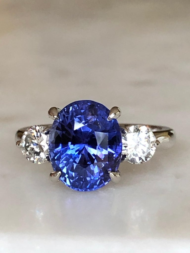 7.18 Carat GIA No Heat Color-Changing Sapphire Diamond Engagement Ring 18K For Sale 7