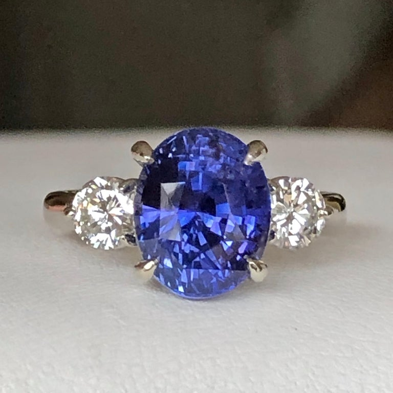 7.18 Carat GIA No Heat Color-Changing Sapphire Diamond Engagement Ring 18K In New Condition For Sale In Brunswick, ME