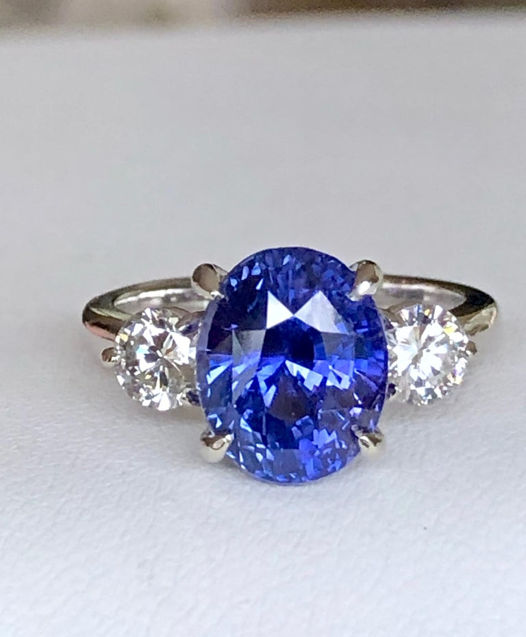 7.18 Carat GIA No Heat Color-Changing Sapphire Diamond Engagement Ring 18K For Sale 3