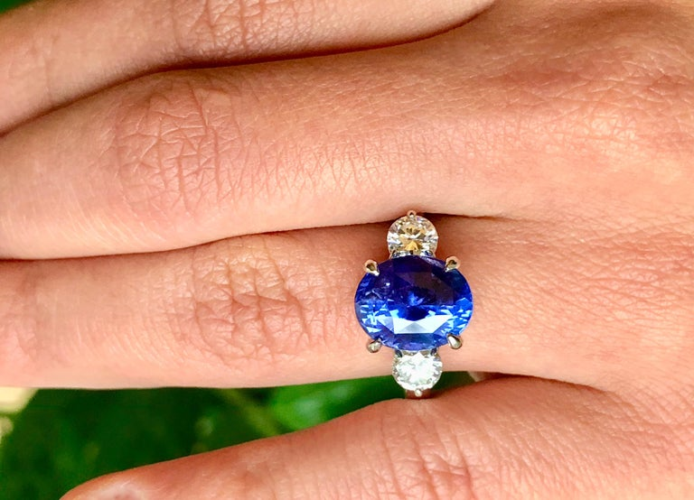 7.18 Carat GIA No Heat Color-Changing Sapphire Diamond Engagement Ring 18K For Sale 6