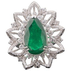 7.18 Carat Pear Shape Emerald and Diamond Cocktail Ring