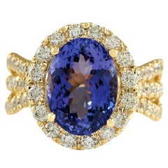 7.18 Carat Tanzanite 18 Karat Yellow Gold Diamond Ring