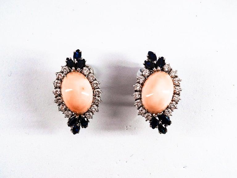 Art Nouveau 7.18 Carat White Diamond Blue Sapphire Pink Coral White Gold Clip-On Earrings For Sale