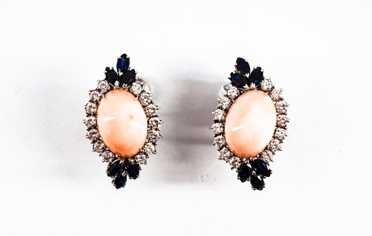 7.18 Carat White Diamond Blue Sapphire Pink Coral White Gold Clip-On Earrings In New Condition For Sale In Naples, IT