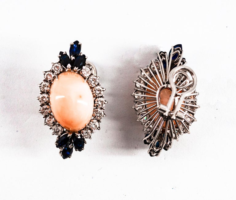 7.18 Carat White Diamond Blue Sapphire Pink Coral White Gold Clip-On Earrings For Sale 1