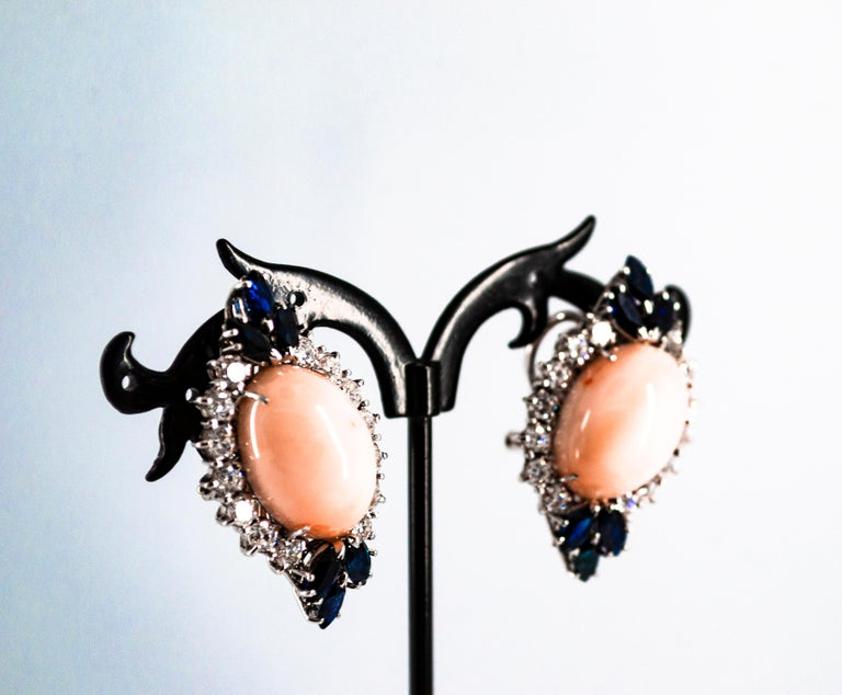 7.18 Carat White Diamond Blue Sapphire Pink Coral White Gold Clip-On Earrings For Sale 3