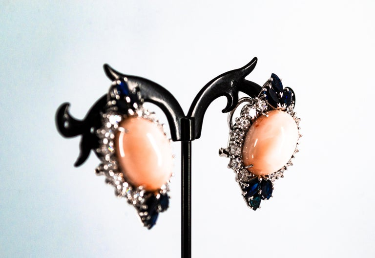 7.18 Carat White Diamond Blue Sapphire Pink Coral White Gold Clip-On Earrings For Sale 4